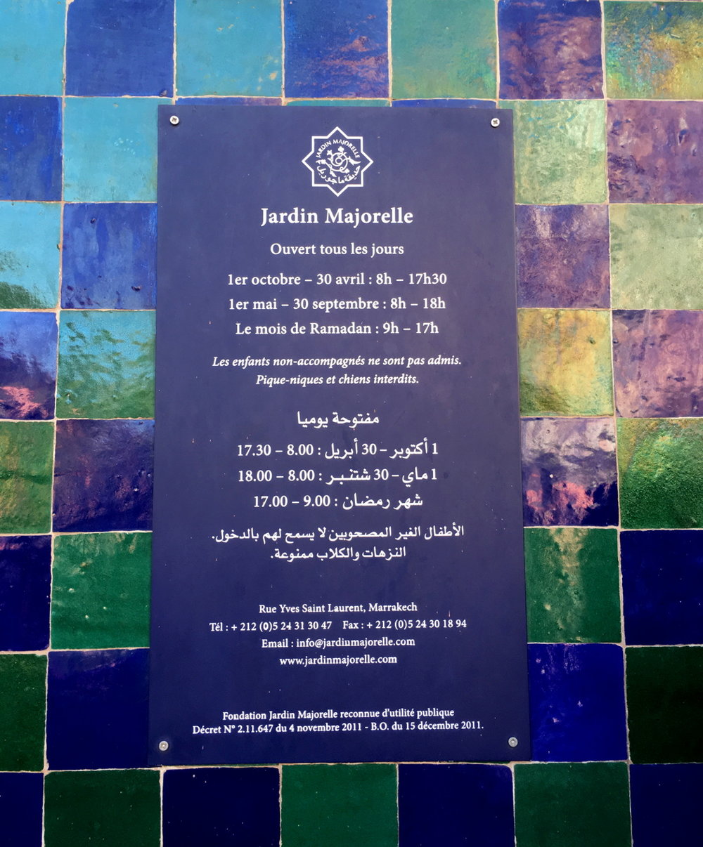 Marrakech Marrakesh Morocco Tourist Tips and travel information city guide how to what to know before you visit where to stay hotels riads Jardin Majorelle Majorelle Garden hours of operation open and close