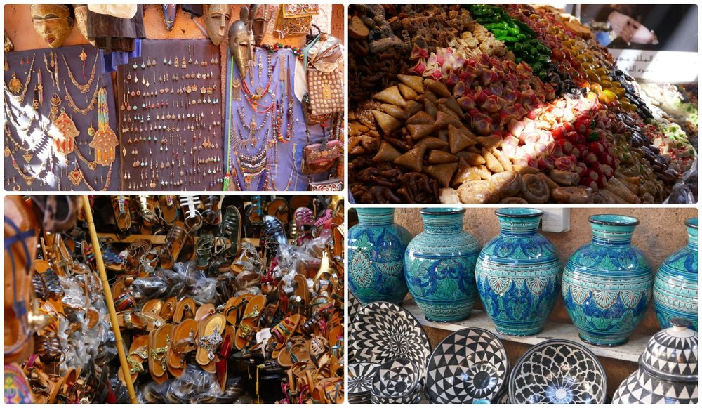 Souks (traditional Arabic outdoor markets) in the Medina (Old Town), Marrakech, Morocco. Locals and tourists alike can find just about anything they need!