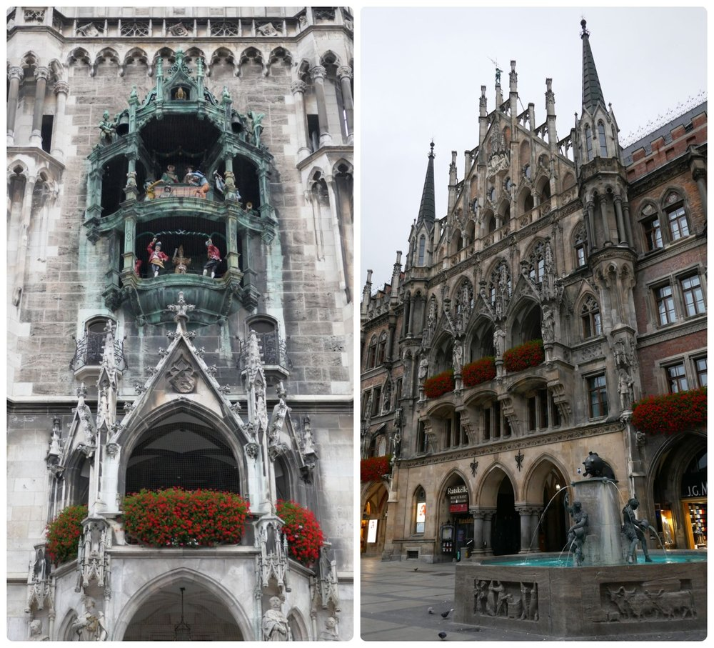 Munich Germany travel tips and tourist information Glockenspiel show clock daily times hours summer rauthaus marienplatz city hall city square plaza free