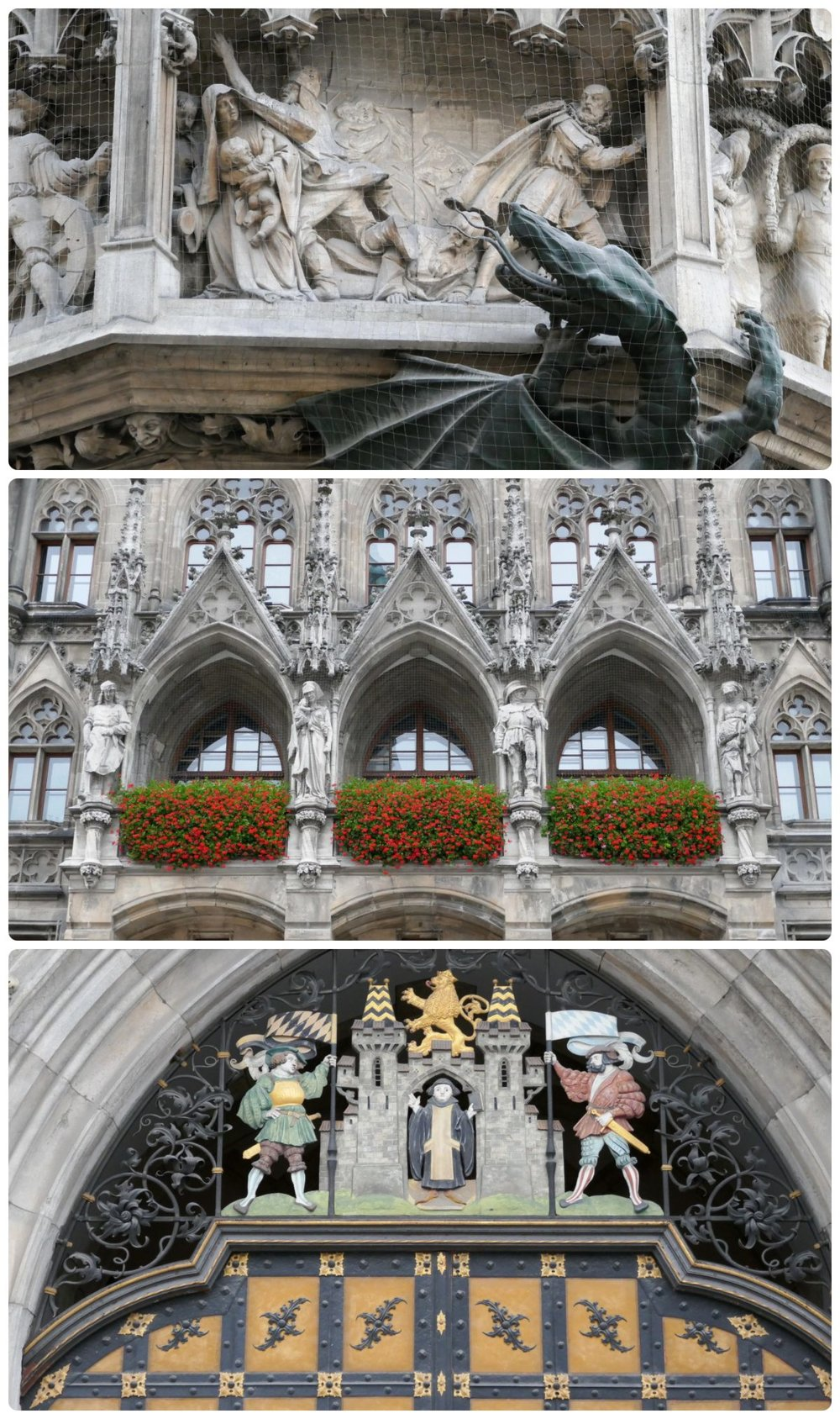 Rauthaus in Marienplatz, Munich, Germany. The detail on the building is exquisite, particularly Wurmeck the Dragon!