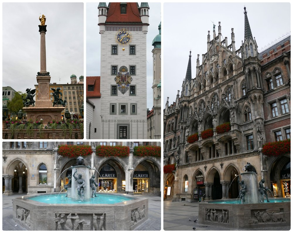 Marienplatz is in city center Munich, Germany.