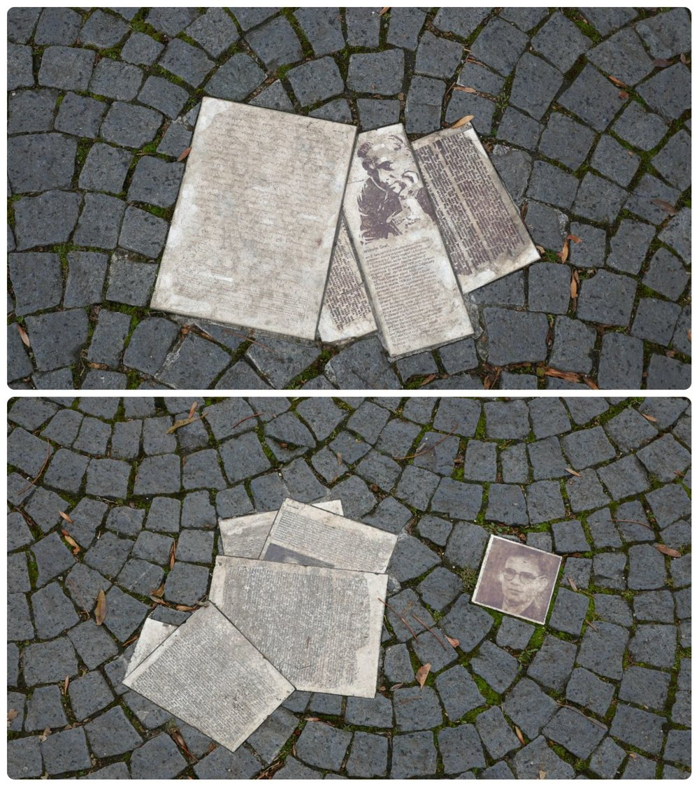 Weiße Rose Pavement Memorial in Munich, Germany. The non-violent Nazi Party resisters are memorialized through the permanent display of pamphlets set into cobblestone.