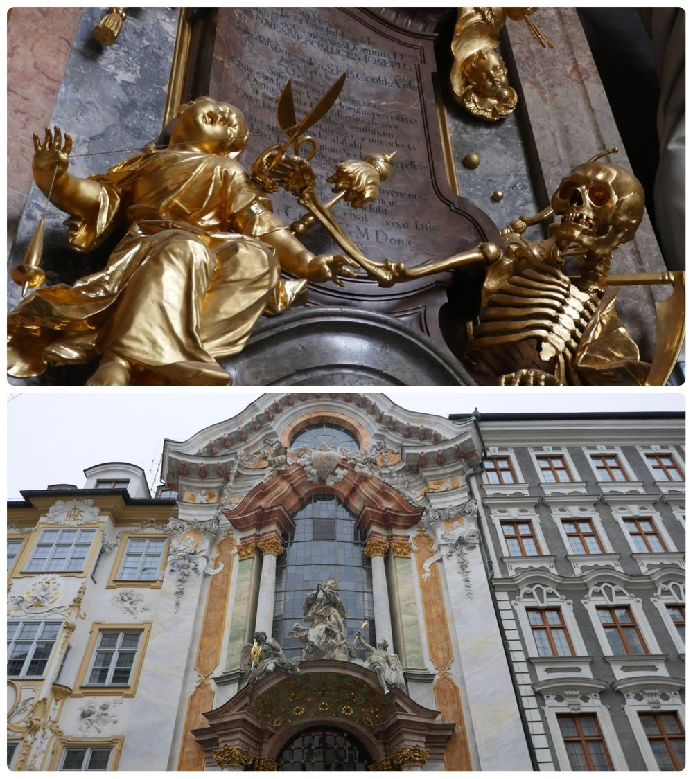 Asam's Church (Asamkirche) in Munich, Germany has something ornate to see almost everywhere you look. In particular, don't miss the unique sculpture of death cutting the string of life.
