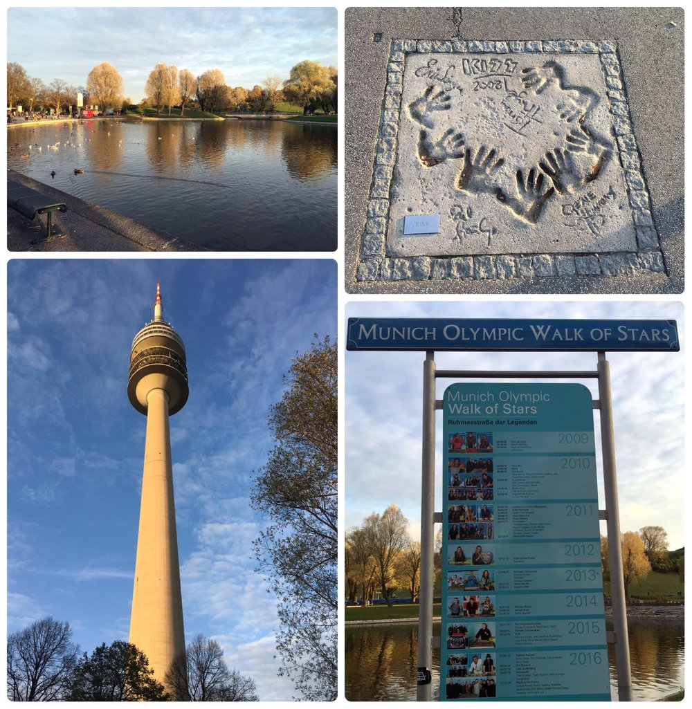 Olympiapark: Olympic Tower & Olympic Walk of Stars in Munich, Germany.