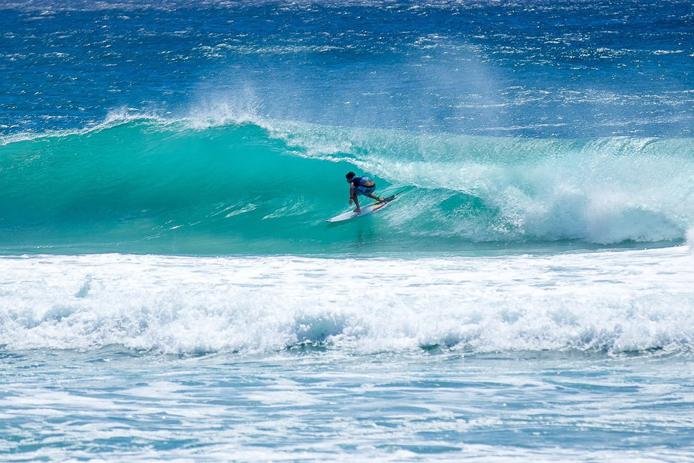 Surfing at Byron Bay, Australia.