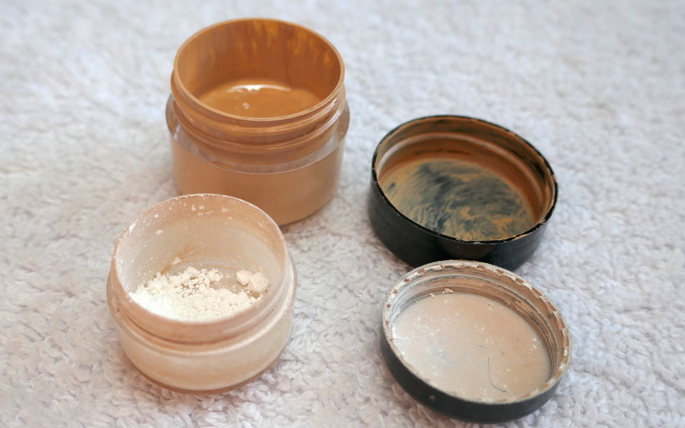I keep my foundation (0.5 oz and lasts about 3-4 weeks) and setting powder (about 0.25 oz and lasts 3-4 weeks) in sample sized containers to save space and weight.
