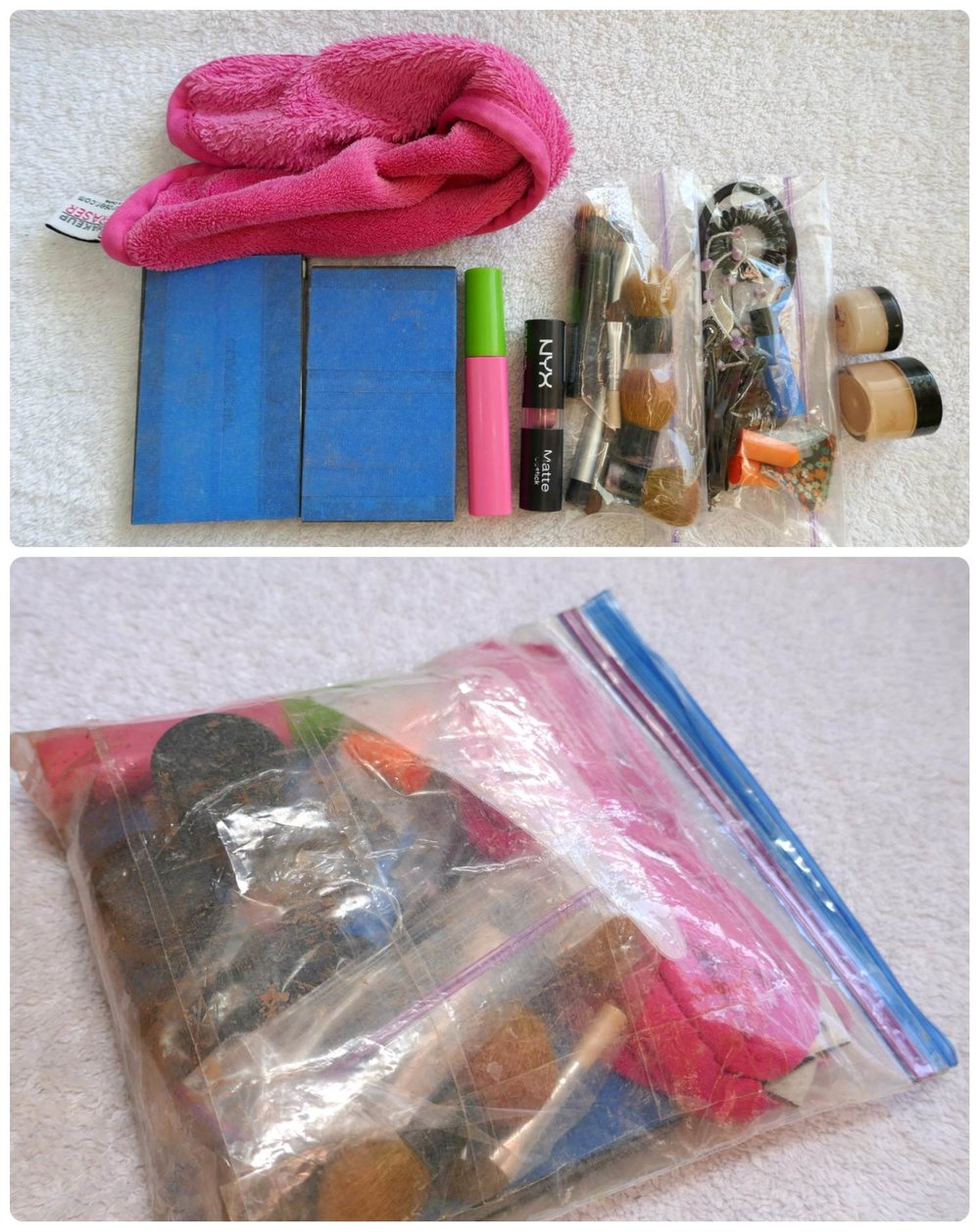 All of my makeup fits into a single quart size Ziploc bag! I've been using the same reinforced Ziploc bag as my DIY travel makeup case (our  DIY packing cubes ) for over 2 years.