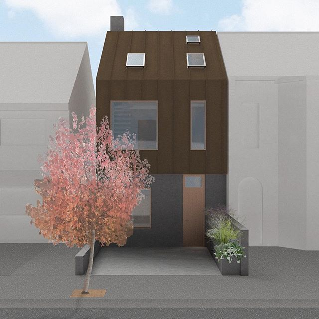 Making use of a small infill site in east London with this Corten & concrete house. Last week it was approved at committee. Can't wait to progress to site. ————— #architecture #newhouse #design #londonarchitecture #render #3dvisualization