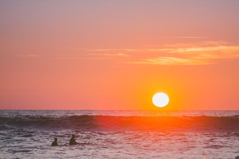 sunset surf in hossegor