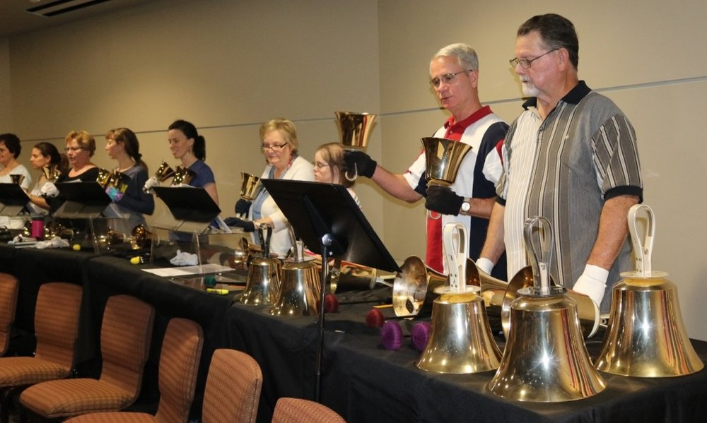 Peals of Joy Handbell Choir - Peals of Joy Handbell Choir rehearses weekly on Wednesdays at 6:00pm in the Worship Center and plays throughout the year. Though handbell experience is not required, basic music reading skills are a prerequisite for members.