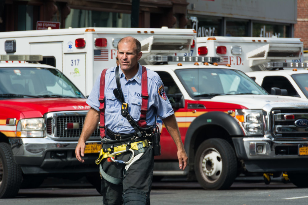 FDNY lieutenant staging at the scene with fire/EMS on Sunday afternoon.