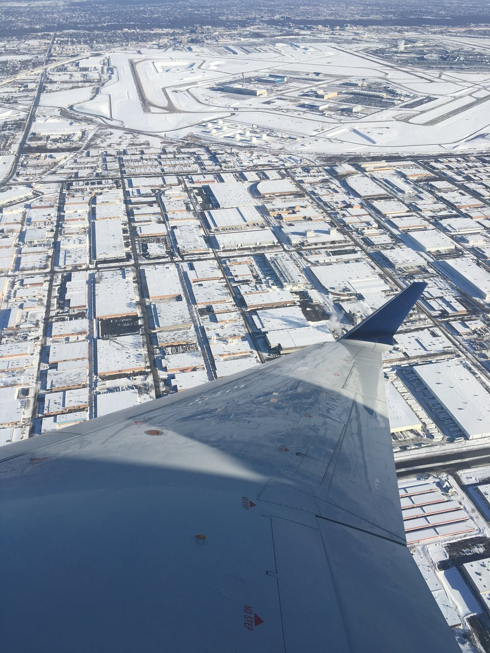 On our way home from a snowy Chicago.