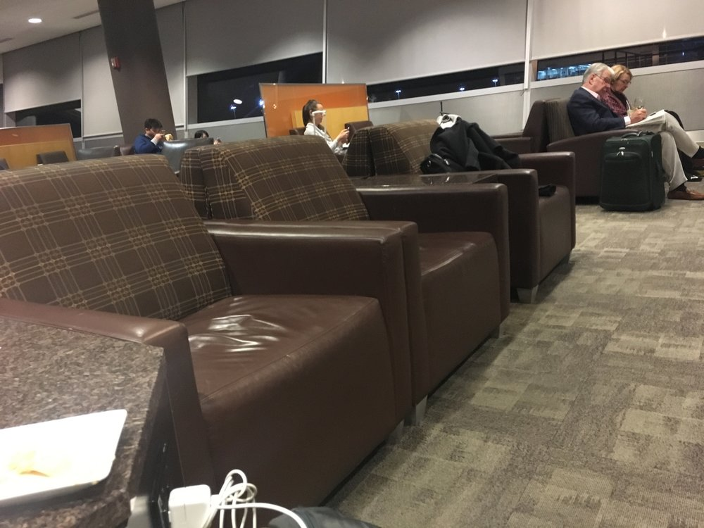 Perfectly comfortable, if outdated-feeling, in the Admirals Club at JFK (Concourse C).