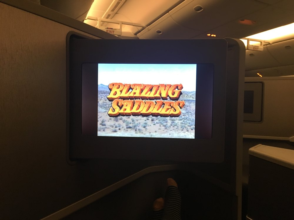 A Mel Brooks movie, business class, and free drinks. My idea of paradise.