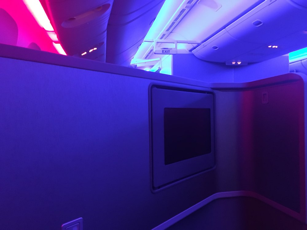 Mood lighting during takeoff and after dinner.