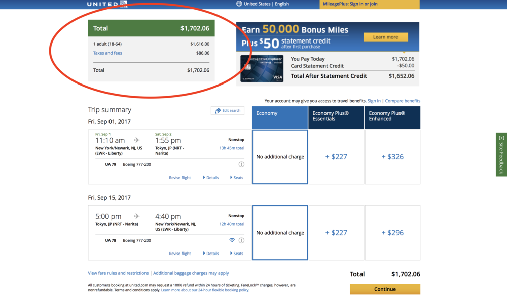 A regular economy roundtrip ticket to Japan for $1,702