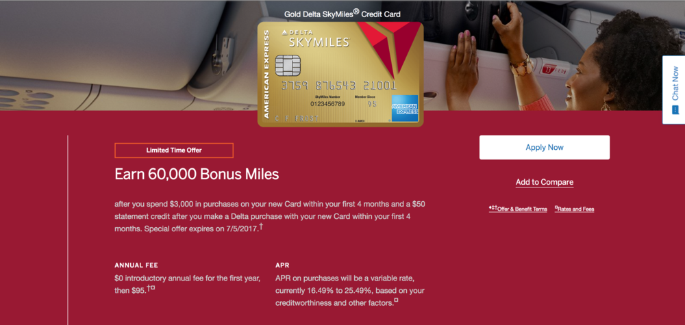Amex Delta Gold SkyMiles card