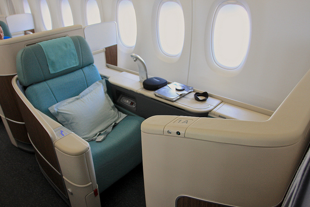 The seat in Korean Air's A380 first class. Courtesy Flickr user TravelingOtter.