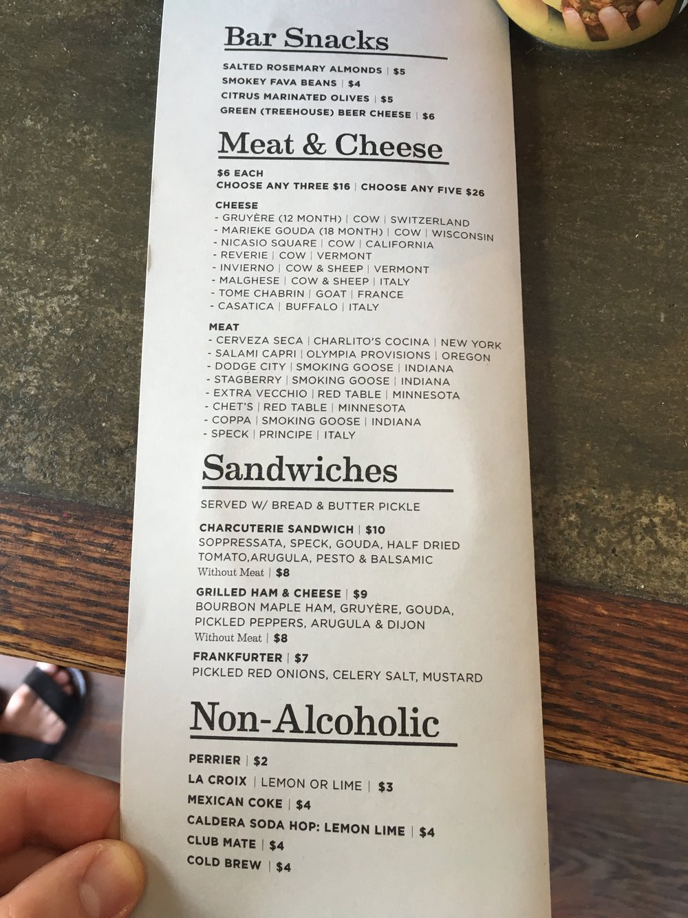 Food menu (the meats and cheeses constantly change)