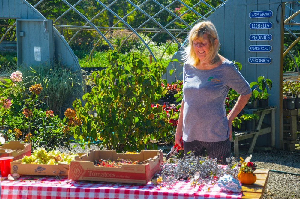 Cathy James overseeing the mini pumpkin flower arrangements