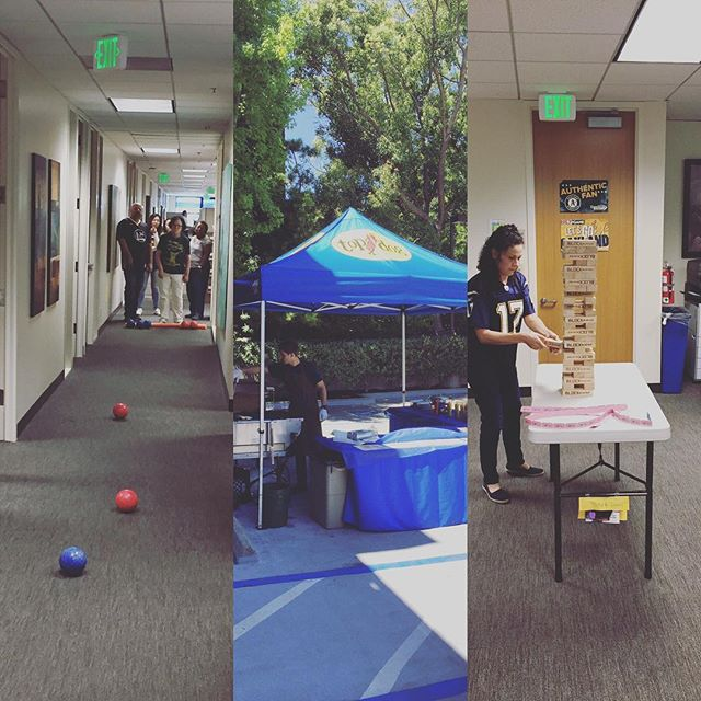 """We had a great """"tailgate"""" party at the office yesterday afternoon! Happy agents make happy clients #sports #beer #hotdogs #insurance"""