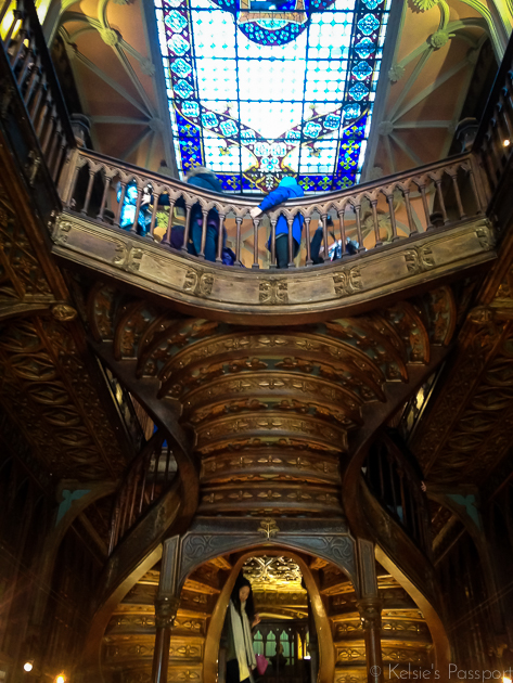 "The spiral staircase inside of the ""Harry Potter Library"""