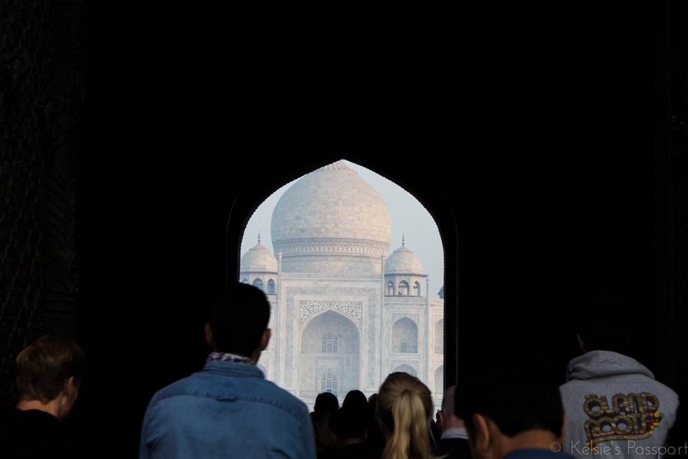 That magical moment when you glimpse the Taj Mahal for the first time, shared with 100 other people.