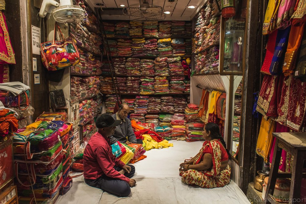 Daily business in a fabric shop in Jaipur.