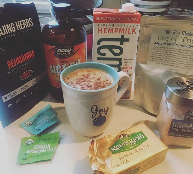 It's my Shamanic Tonic Time! Herbs, Shrooms from @foursigmatic and plenty of tasty and healthy fat! And yes, as the mug says, the cinnamon and sea salt on top be bringing me PLENTY of Joy! #ShamonicTonic  #WhatsInYourTonic #healthiswealth #getsome #bulletproof #elevateyourstate #healthyeah #shrooms #funguys #fat