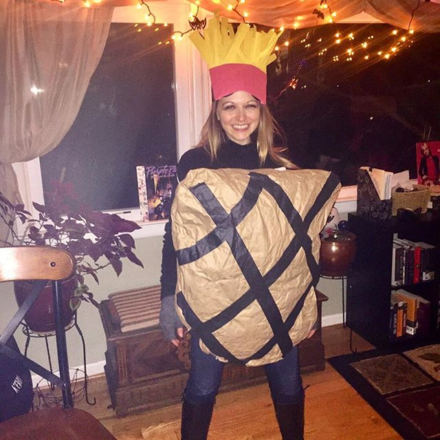 As per the request of the slip of paper I drew from a hat: steak and potatoes. #halloweencostume #reuseablematerials #packingpaper #plasticbags #tape