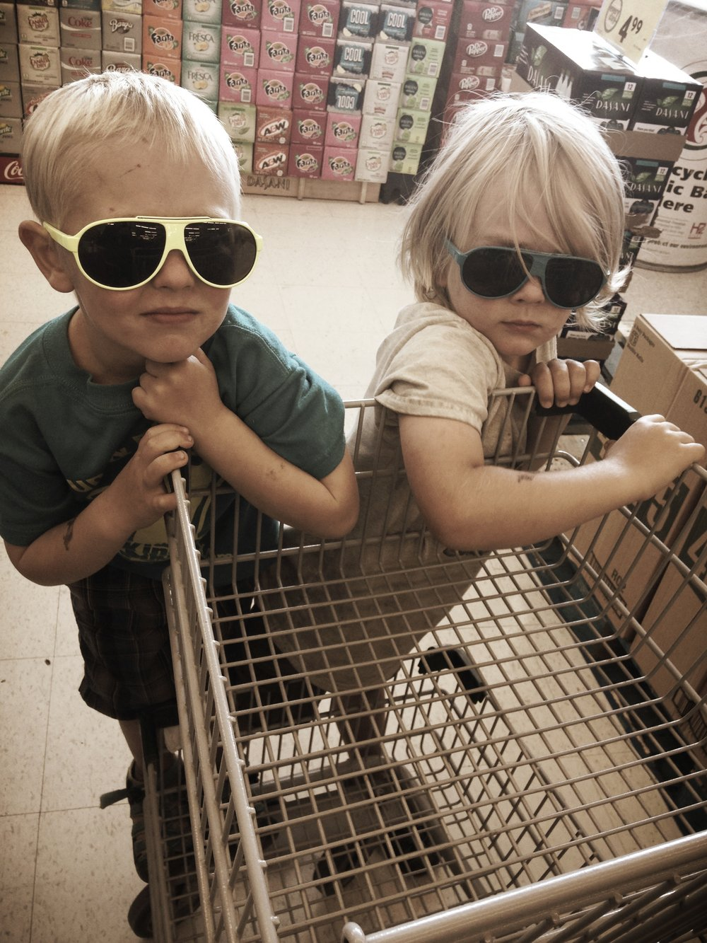 Our boys. We got some looks on this shopping trip. This may have been because we were the dirtiest family in the store. We were on week 7 of our 9 week camping adventure.