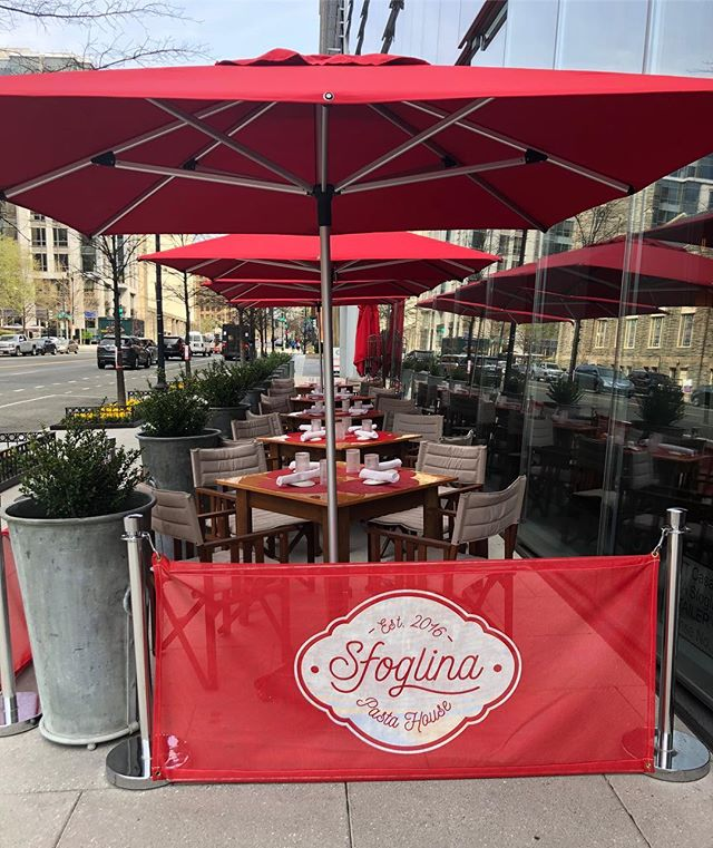 Our Patio is open, just look for the bright red umbrellas! Join us for lunch today, we have a table (and a bowl of pasta!) waiting for you ...🌞