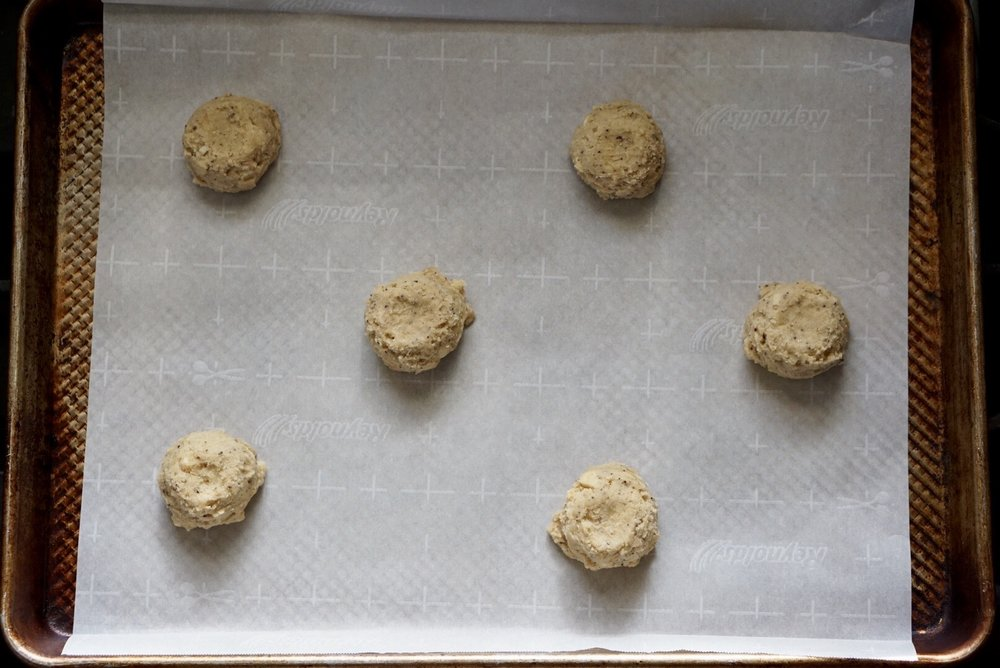 Pre-bake: space out 6 cookies per sheet.