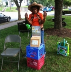 UACC Advisory Council member and South 1st Street resident, Janet Mitchell working her fundraising magic - July 2015