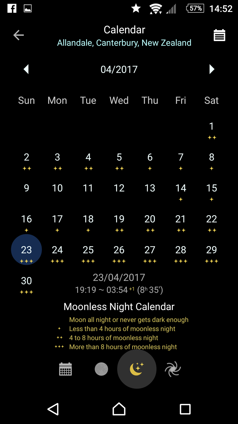 moonlight calendar feature