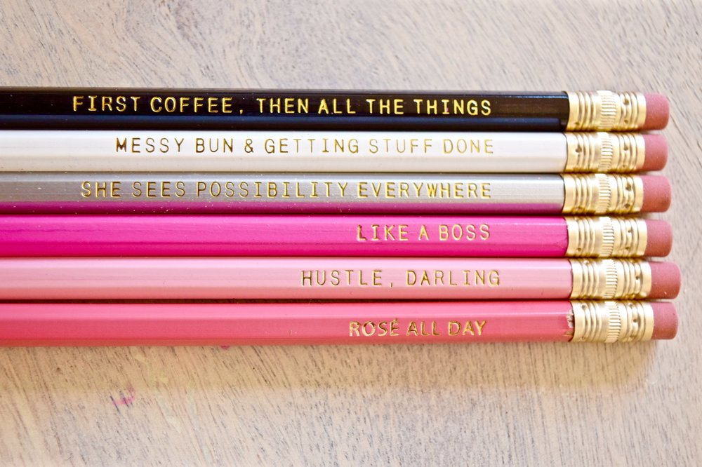 BULLET JOURNAL ESSENTIALS: PENCILS - Whenever I am doing a sketch I  always  start with pencil first so I can erase any mistakes! And how freaking awesome are these pencils?! I ordered myself a set from Sweet Water Decor.  Motivation + Functionality = WIN!