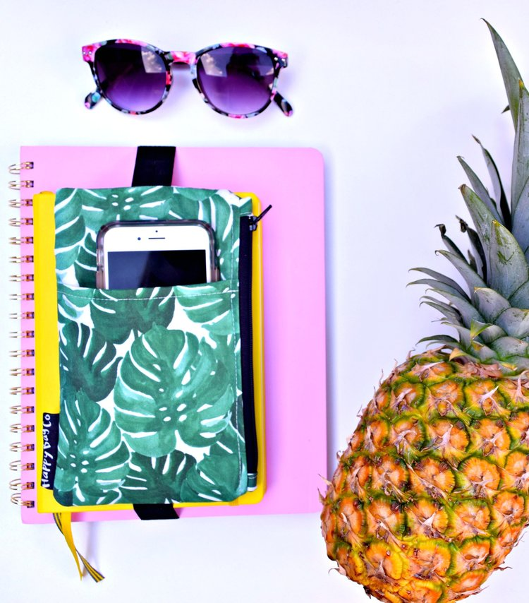 Tropical leaves pencil case . The perfect storage for all of your journal supplies!