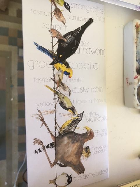 birds on a wire (meant to be horizontal) all the Tasmanian endemics, text behind $7