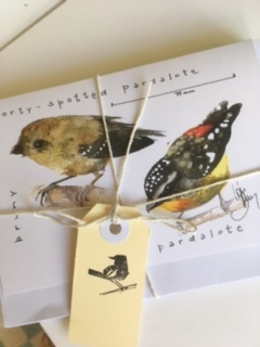 Pack of 5, double pardalote giftcards, 40 spot and spotted pardalote, available singly  $6 or in pack $25