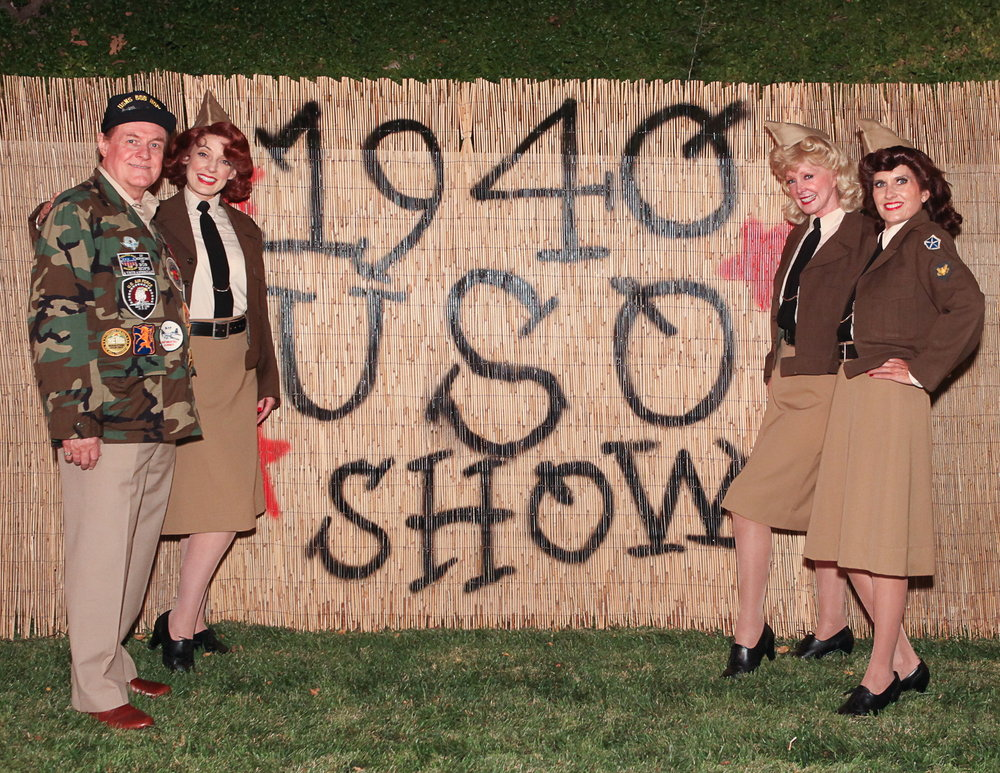 As The Andrews Sisters with Bob Hope in a 1940's USO Show