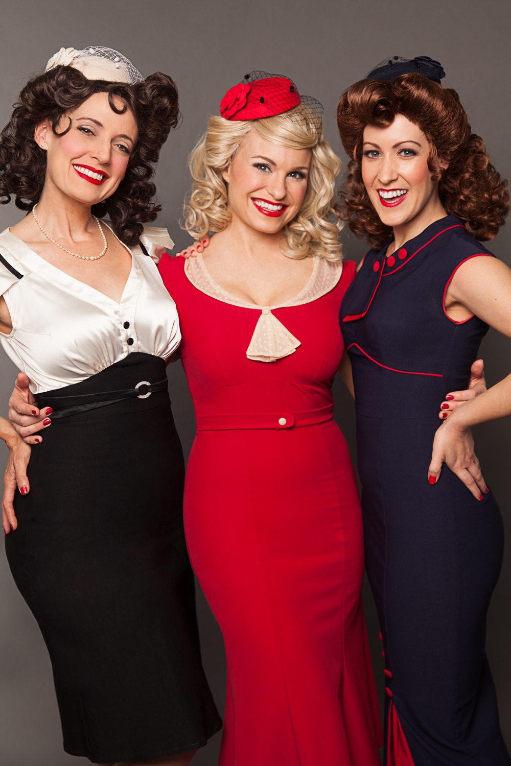 The Swing Dolls 1940's retro dresses, pillbox hats