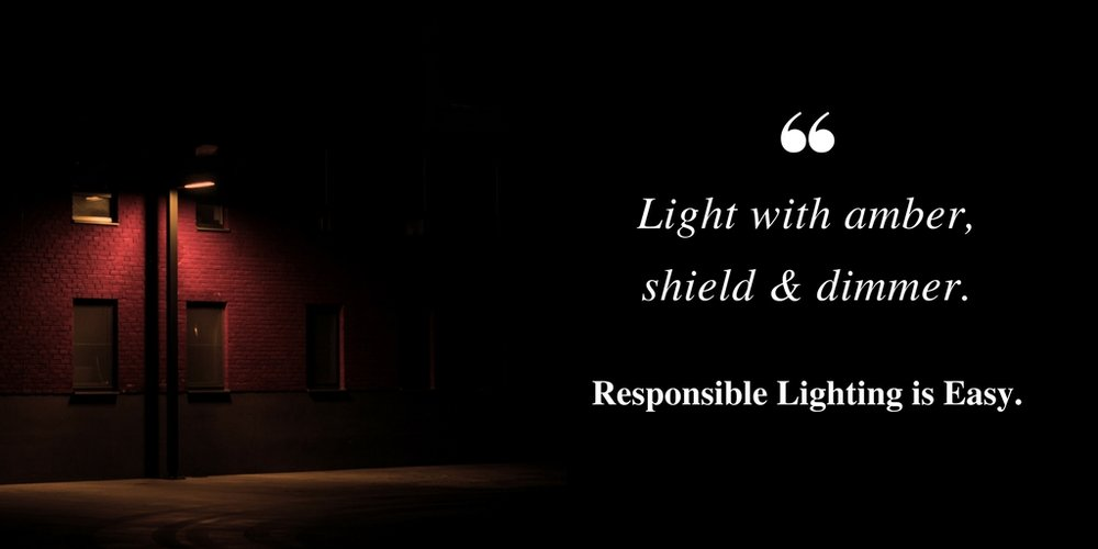 Light with amber, shield & dimmer. Responsible lighting is easy.