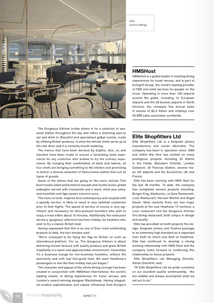 The Gorgeous Kitchen appears in Premier Hospitality, June 2014, Article Page 2