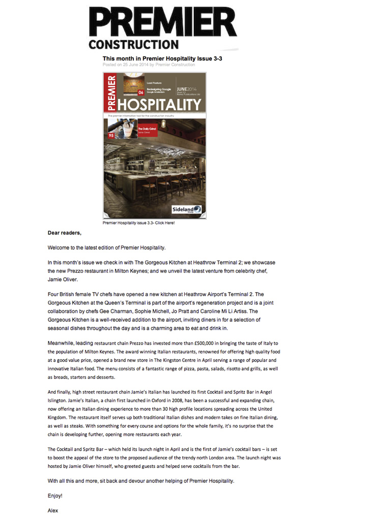 The Gorgeous Kitchen appears in Premier Hospitality, June 2014, Article Page 4