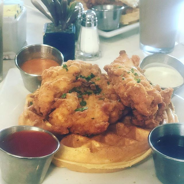 This was a real treat!! Chicken and waffles from Bru's Waffles 🙌🏼🙌🏼🙌🏼 delicious! Happy Monday everyone 😘 . . . #chicken #waffles #breakfast #brunch #santamonica #la #getinmybelly