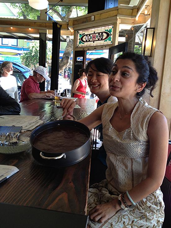 Shoko and Ramya at a Haight-Ashbury establishment