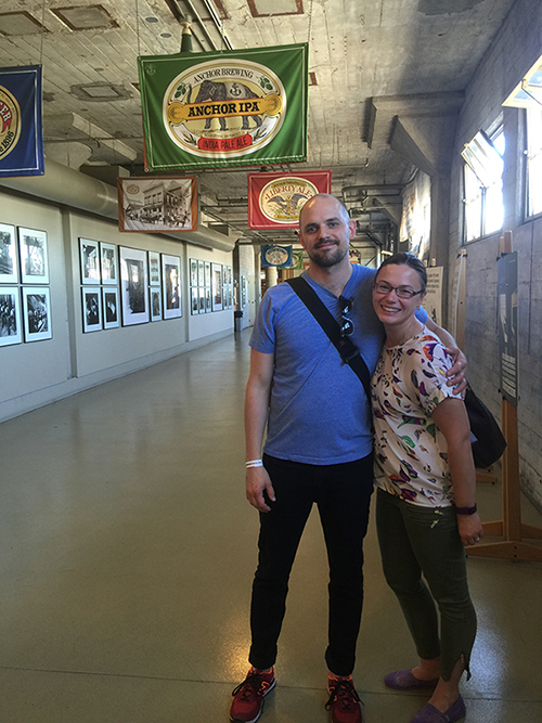 Brandon and Julia on the Anchor Steam tour
