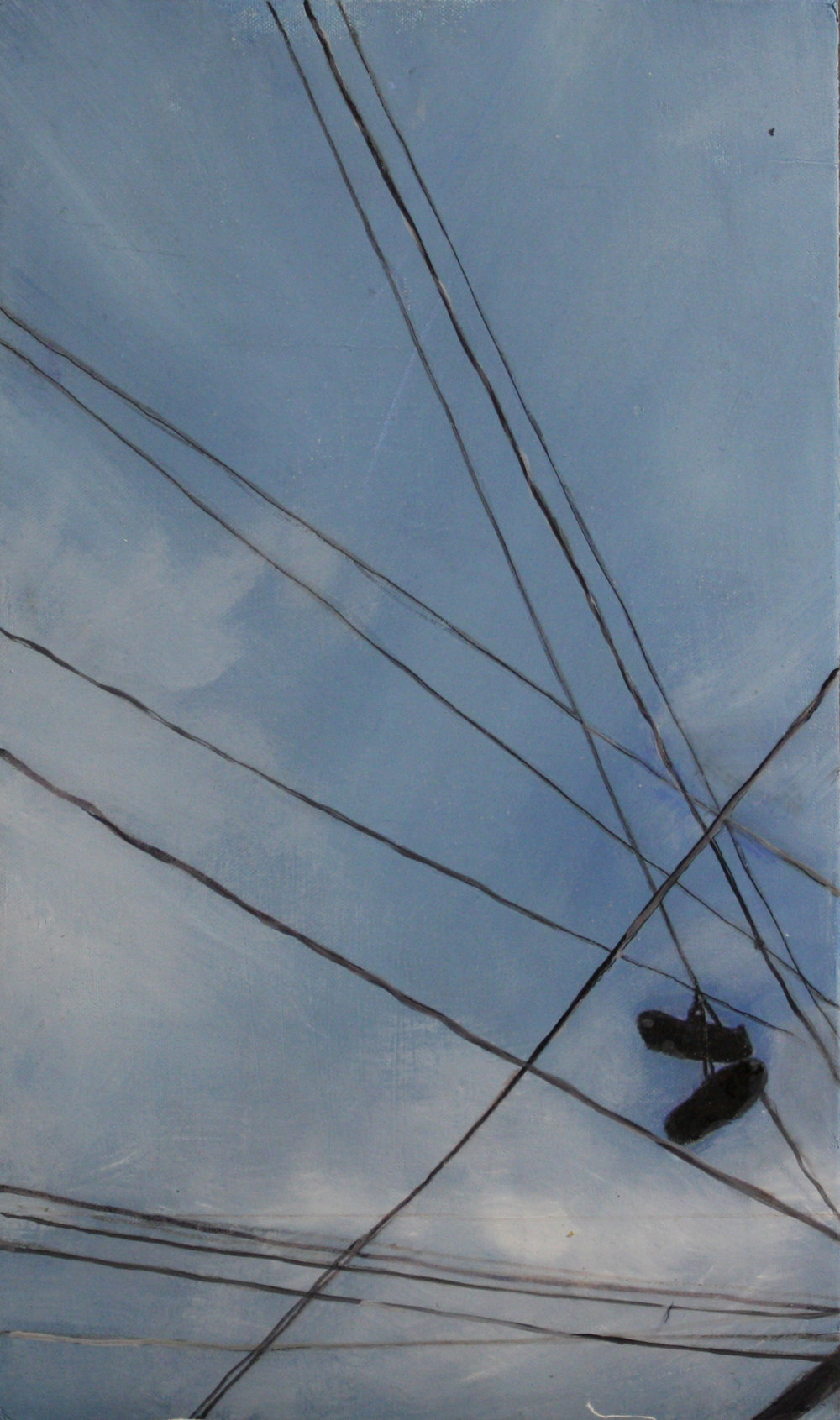 Wires:  Left hanging   2011, oil on canvas on hardboard  50 x 76 cm