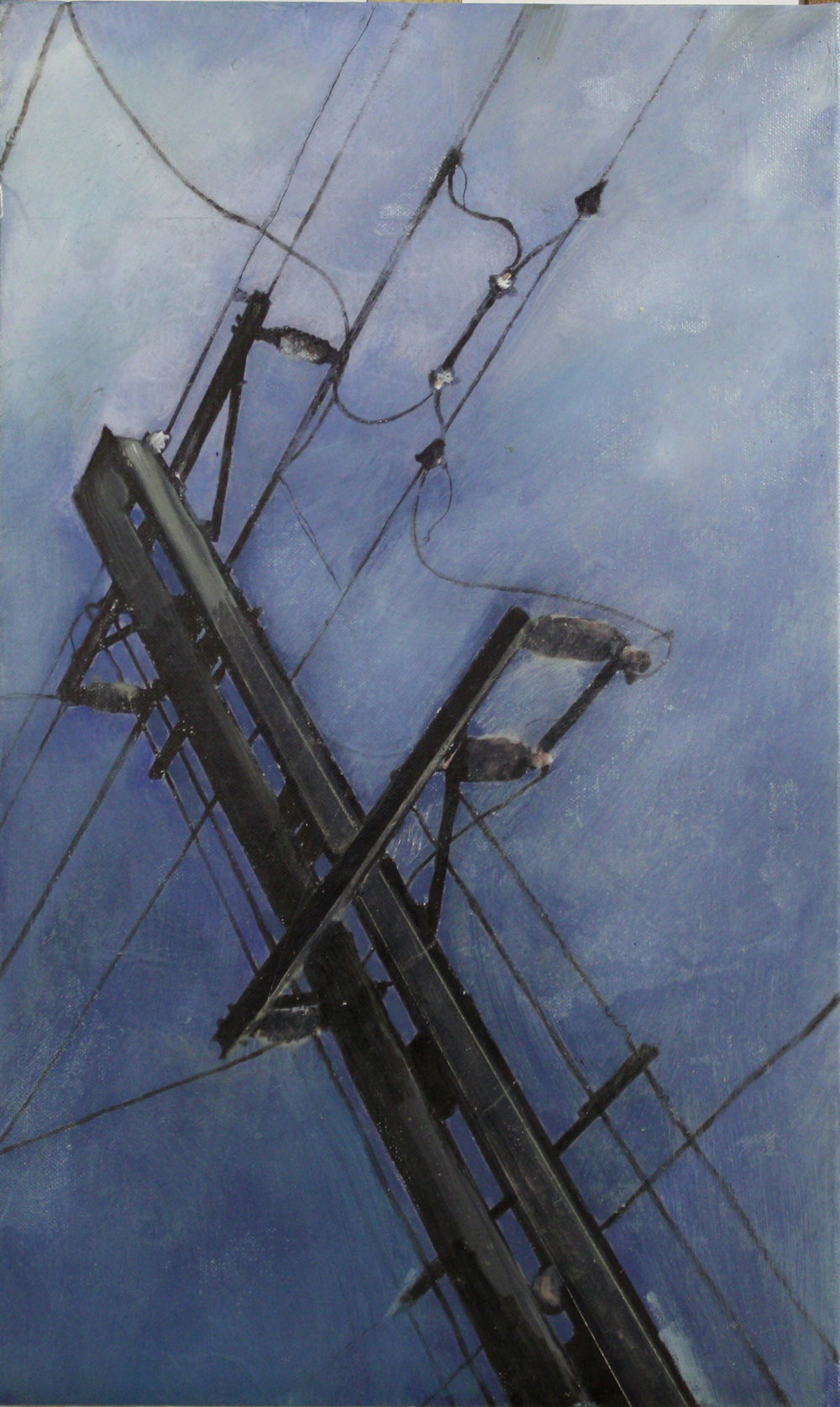 Looking Up:  Steel pole,   2011,oil on canvas on hardboard  50 x 76 cm