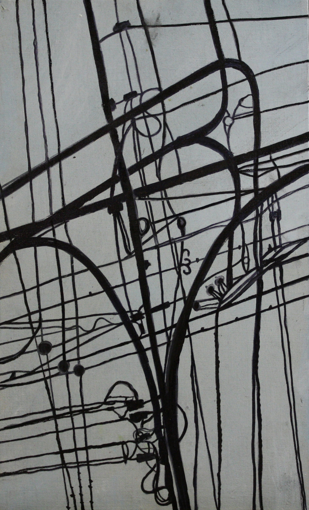 Wires: T angle   2011, oil on canvas on hardboard  50 x 76 cm